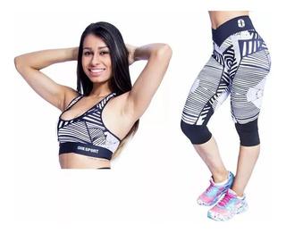 Kit Fitness Legging 3/4 + Top Estampado Media Compressão Fem