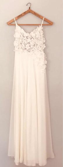 Vestido De Novia Adriana Oreiro Off-white Small Flores