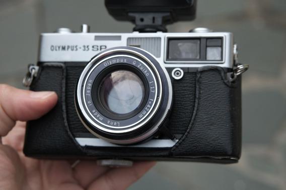 Olympus 35 Sp Com Flash E Case De Couro
