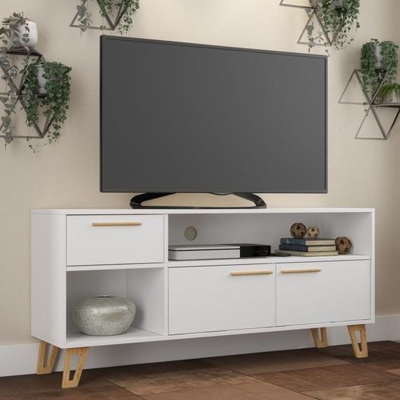Rack Bancada Para Tv Até 50 Pol. Br378 2 Portas Branco/pinus