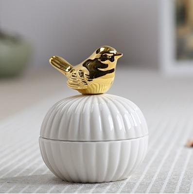 Porta Jóias Cerâmica Decorativo Com Pássaro