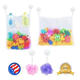 2 X Mesh Bath Toy Organizer Mas 6 Ultra Strong Hooks - La Re