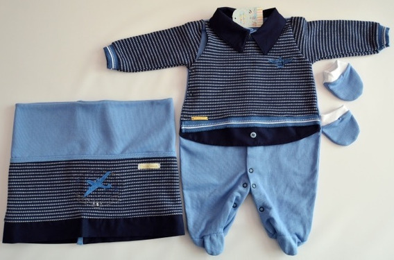 Kit Saída De Maternidade Azul Aviador