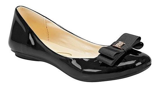 Zapato Para Dama Charol Negro Con Moño Decorativo