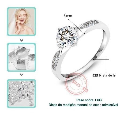 Anel Compromisso   Casamento   Noivado 925 Prata De Lei