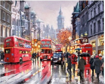 Pintura Numerada Londres Chuvosa