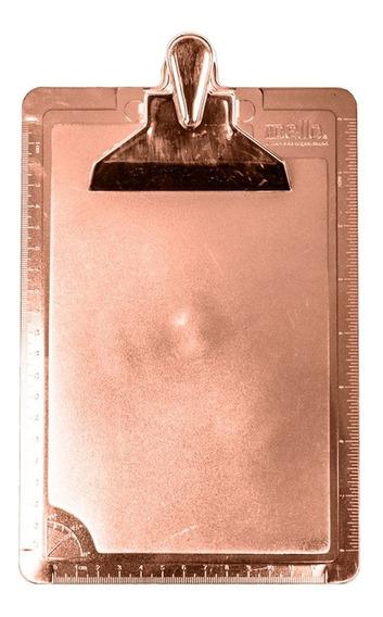 Prancheta Meio Oficio Metalizada Rosê 235x160x40mm Com 1un