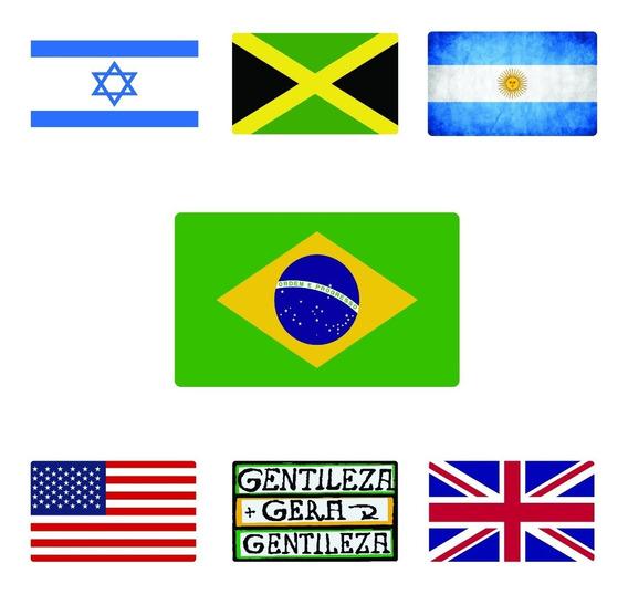 Adesivo Bandeira Brasil Paises Kit 12pcs Frete Gratis 10cm