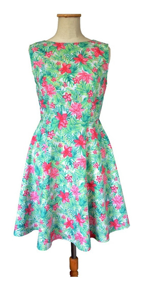 Vestido Pin Up Retro Tropical Flores Escote V Espalda