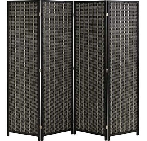 Imagen 1 de 6 de Biombo Plegable De Madera Color Negro/4 Paneles De 72in