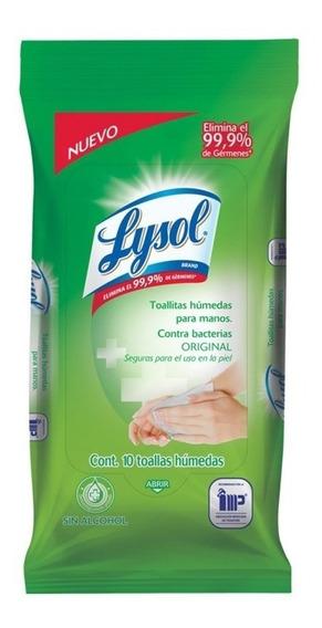 Lysol Toallas Humedas Suaves Antibacteriales Manos 10 Piezas