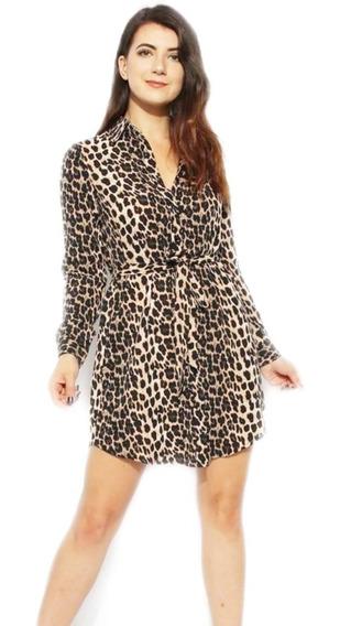 Camisa/ Vestido Mujer Animal Print Talles Grandes Con Cinto