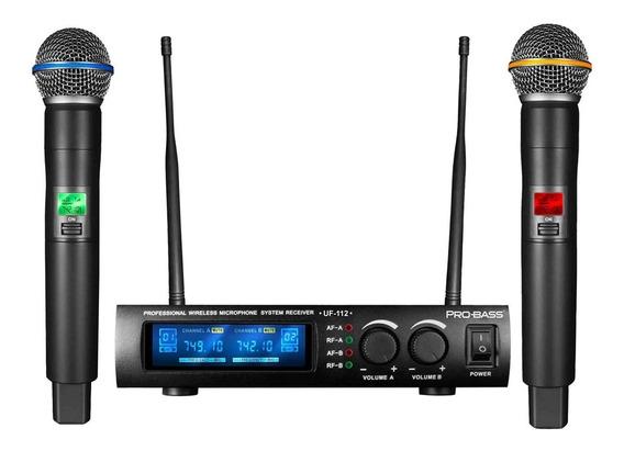 Microfone Sem Fio Probass Uf112 Pro Bass Uf-112 Uhf Freq Nova