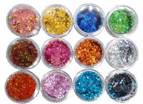 Kit 12 Glitter Losango Para Unhas E Decoração