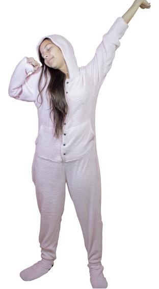 Macacão Adulto Quentinho Pijama Longo Inverno Com Pé Fechado