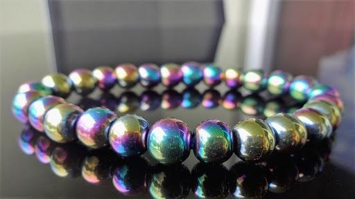 Pulseira Pedra Natural Hematita Arco Iris Colorida Furtacor