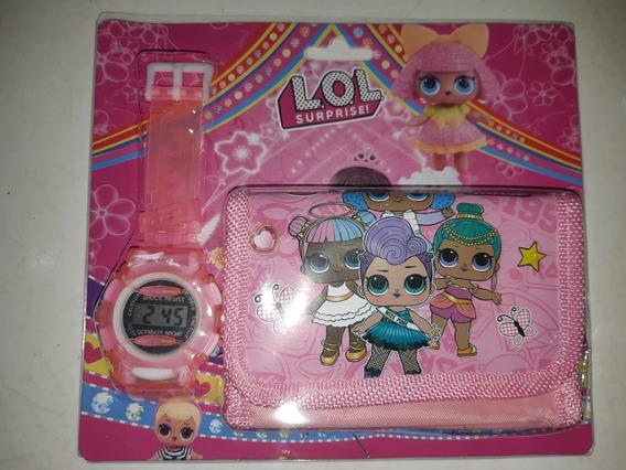 Relógio Infantil + Carteira Lol Ou Frozen