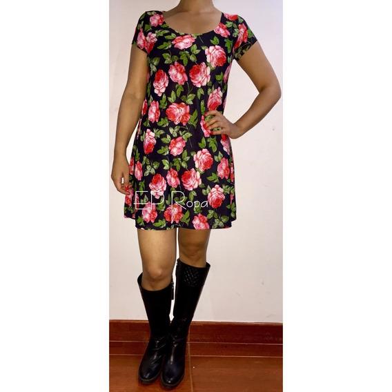 Vestido Floral Corto Falda Rotonda Juvenil Envío Gratis Moda