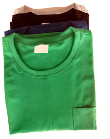 Kit 10 Camisa Masculina Lisa Com Bolso Malha 100% Algodão