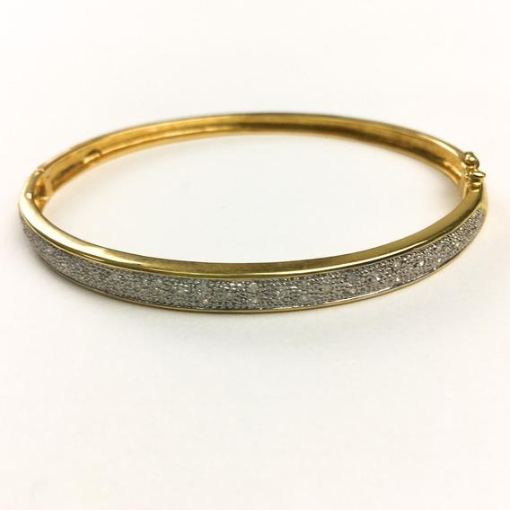 Bracelete Feminino Ouro 18k Algema Com 34 Brilhantes 0084