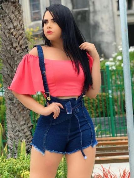 Jardineira Short Jeans Com Lycra Curto Primavera-verão 2020