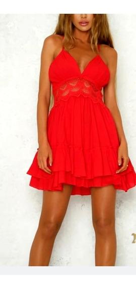 Vestido Importado Fiesta Solero Verano Color Rojo