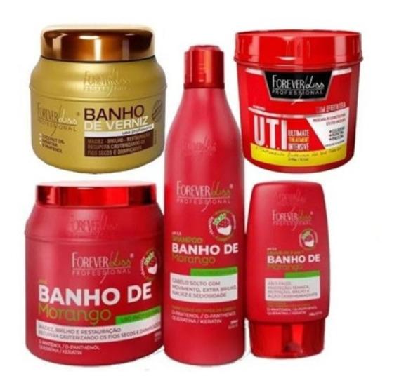 Kit Banho Morango, Banho De Verniz E Uti Forever Liss