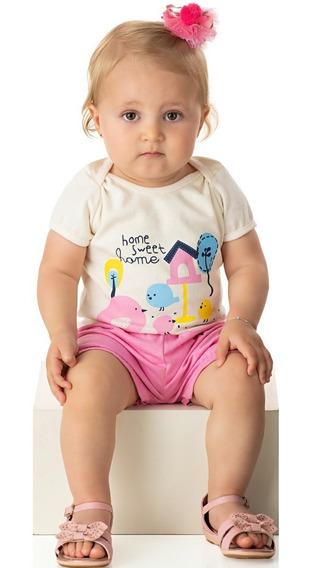 Roupa Bebê Menina Conjunto Body E Shorts Curto Verão Isensee