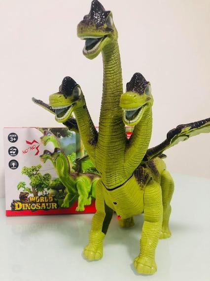 Dinossauro De 3 Cabeças Tem Asas Bota Ovo, Anda Som E Luzes