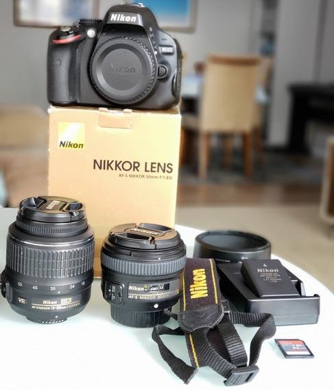 Câmera Nikon D5100 Lentes Nikkor 18-55mm + Af-s 50mm F/1.8g