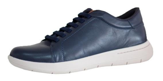 Sapato Tênis Masculino Usaflex Confortável Couro Azul 9801