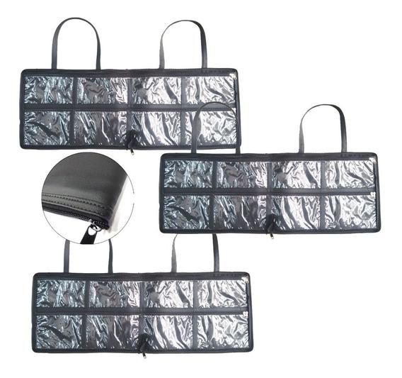 3 X Bolsa Porta Esmaltes Maquiagem Couro Ecológico Premium