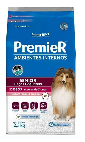 Ração Premier Ambientes Internos Cães Sênior Pequeno 2,5kg