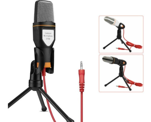 Micrófono Condensador 3.5 Mm + Soporte Para Pc Skype Zoom