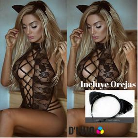 Lenceria Sexy Baby Doll Gata Femenina + Orejas Calidad