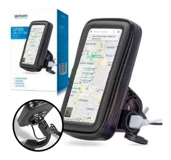Suporte Porta Celular Moto Universal 6.3 C/ Usb Impermeável