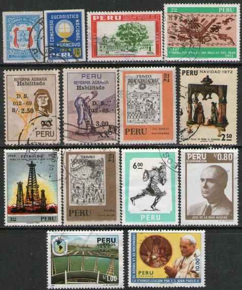 Perú 14 Sellos Usados Papa Juan Pablo 2° Años 1954-88