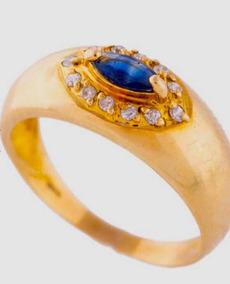 Anel De Formatura Em Ouro 18k Com Safira Azul E Brilhantes