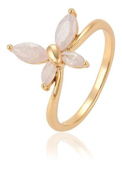 Fino Anillo Mariposa Con Ópalos Rosas Oro 14k Lam Estuche