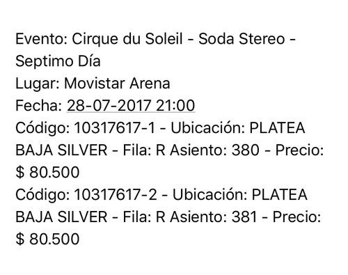 Entradas Cirque Soleil (chile)