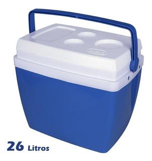 Caixa Térmica Cooler 26 Litros Azul Bebidas Lanches - Mor