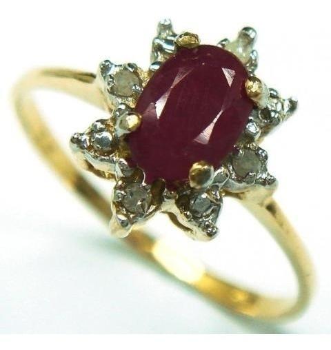 Dia Dos Namorados, Anel Ouro 14k C/8 Diamantes E Rubi