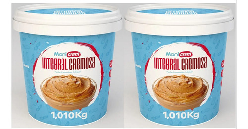 Kit 02x Manicrem Pasta De Amendoim Integral Cremosa - 1kg