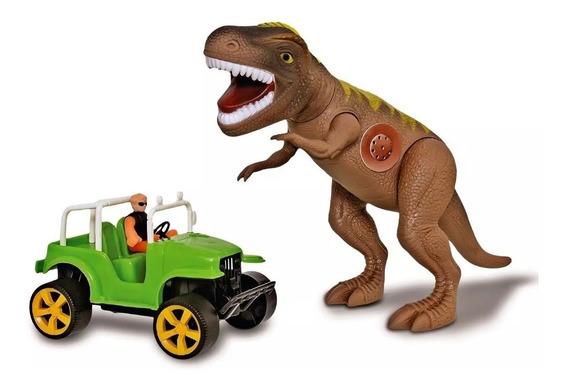Dinossauro T-rex Tirano Rex Com Jipe Safari 43cm - Adijomar