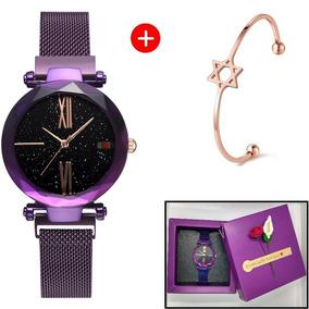 Relógio De Pulso Feminino + Bracelete + Caixinha: Roxo