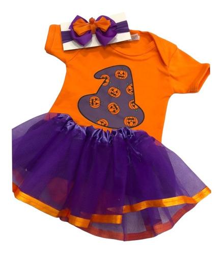 Imagem 1 de 4 de Fantasia Halloween Bebê Body Abóbora Bruxa Tutu E Laço Kit