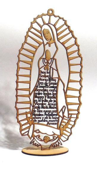 10 Virgen De Guadalupe Mdf Oración Ave María 30 Cm Recuerdo