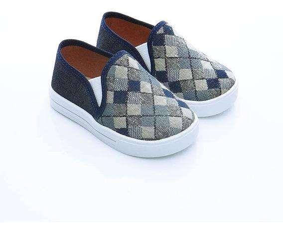 Alpargata Sapatênis Iate Infantil Jeans Xadrez Confortável