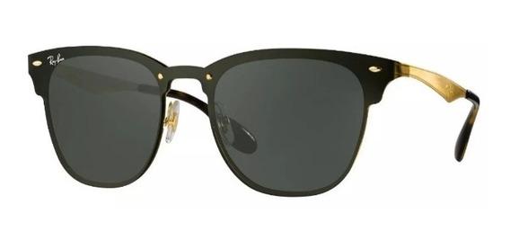 Oculos De Sol Ray Ban Blaze Clubmaster Rb 3576 Preto