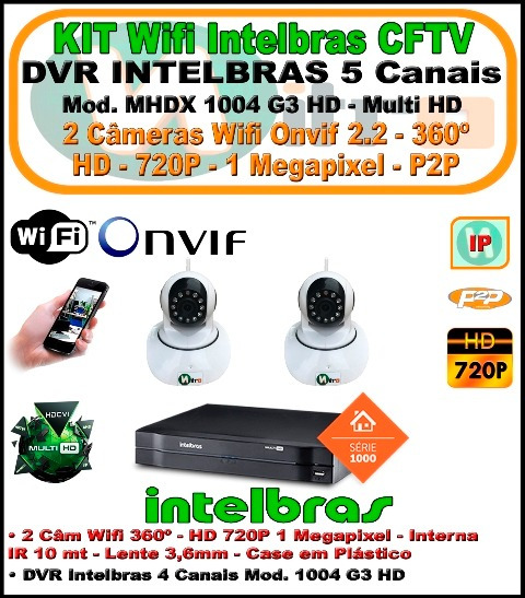 Kit Intelbras Nvr 5 Ch Multi Hd 1004 2 Câm Wifi 360 720p